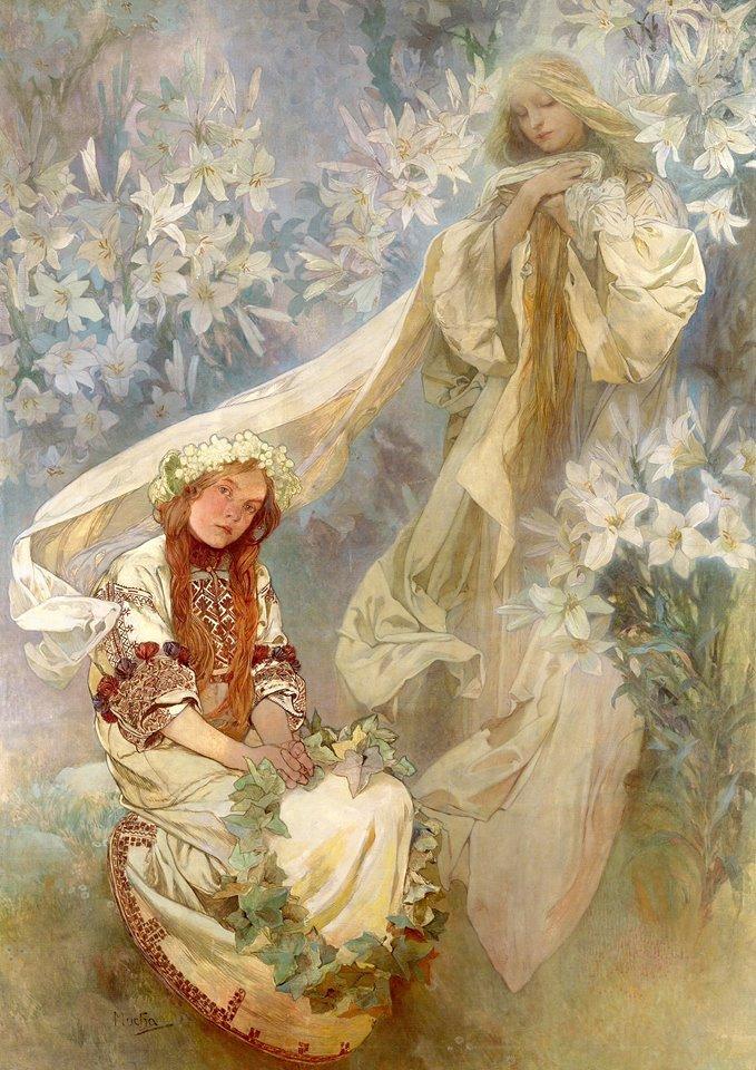 百合花中的圣母_Madonna of the Lilies-阿尔丰斯·穆夏