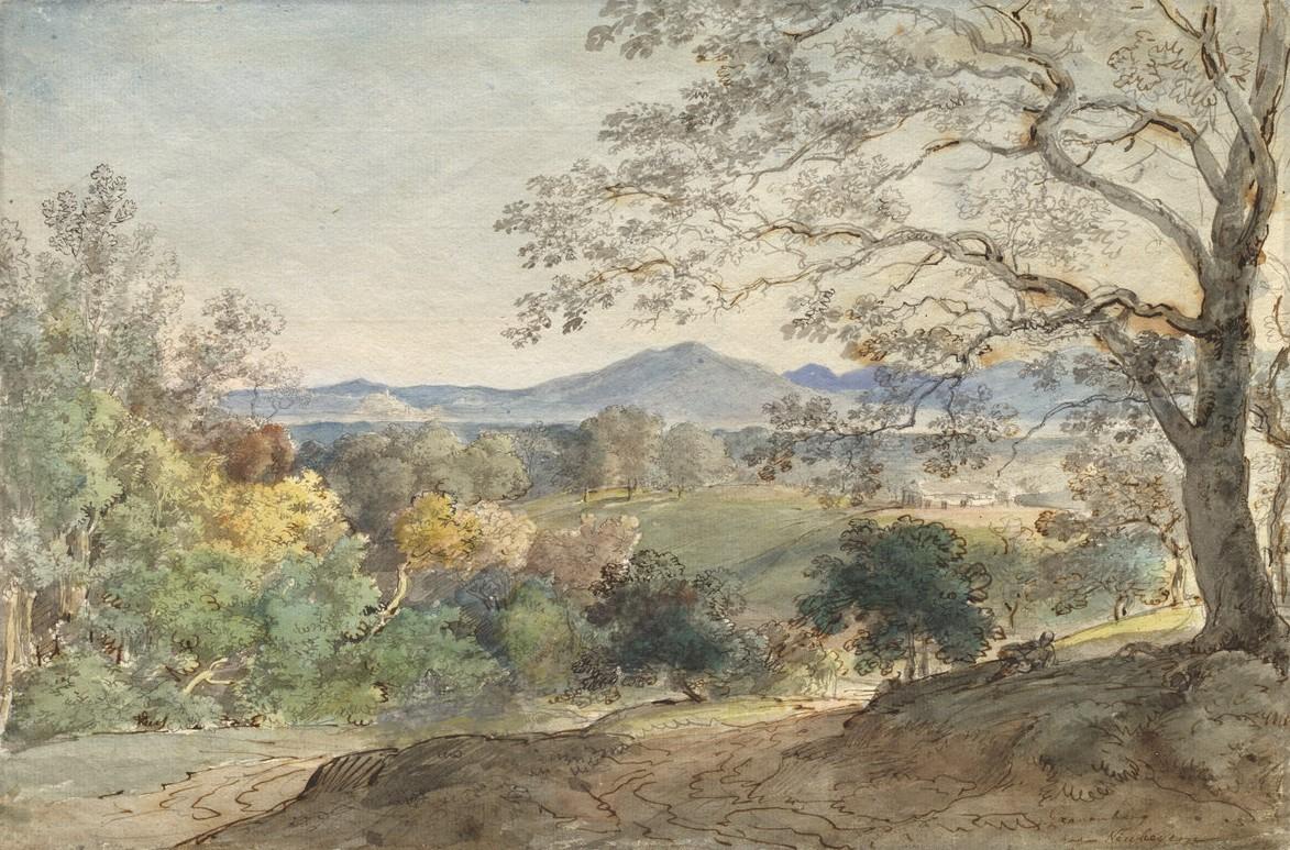 从客栈谷到阿尔卑斯山和新伯恩的景色-约翰·乔治·冯·迪利斯
