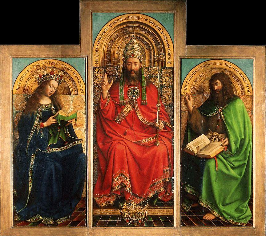 根特祭坛装饰物(中上面板细节)_Ghent Altarpiece (detail of upper centre panel)-扬·凡·艾克