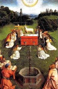 根特祭坛装饰物(中央面板细节)_Ghent Altarpiece (detail of centre panel)-扬·凡·艾克