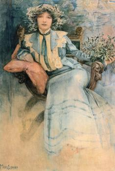 槲寄生:Mucha夫人的肖像_Mistletoe: Portrait of Mme. Mucha-阿尔丰斯·穆夏