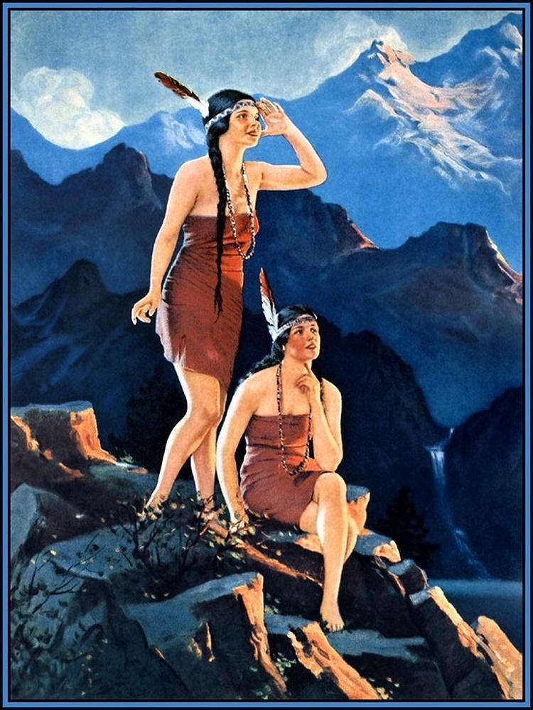 两个印第安少女站在岩石上_Two Indian Maidens on the Rock-爱德华·梅森·爱格斯顿