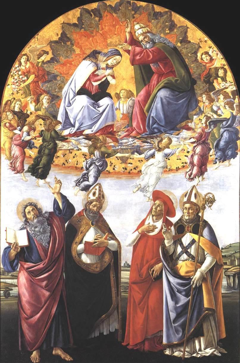 圣母加冕礼(圣马可祭坛)_Coronation of the Virgin (San Marco Altarpiece)-桑德罗·波提切利