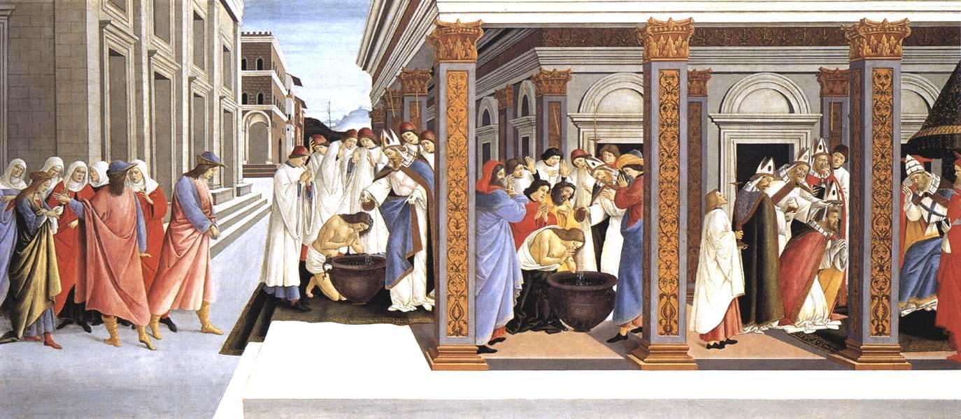 圣西诺比厄斯的洗礼和他的主教任命_Baptism of St Zenobius and His Appointment as Bishop-桑德罗·波提切利