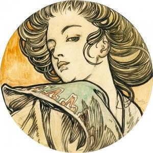 一个年轻女人的肖像_Portrait of a Young Woman-阿尔丰斯·穆夏