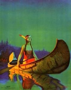 印第安女孩在独木舟里_Indian Girl in a Canoe-爱德华·梅森·爱格斯顿