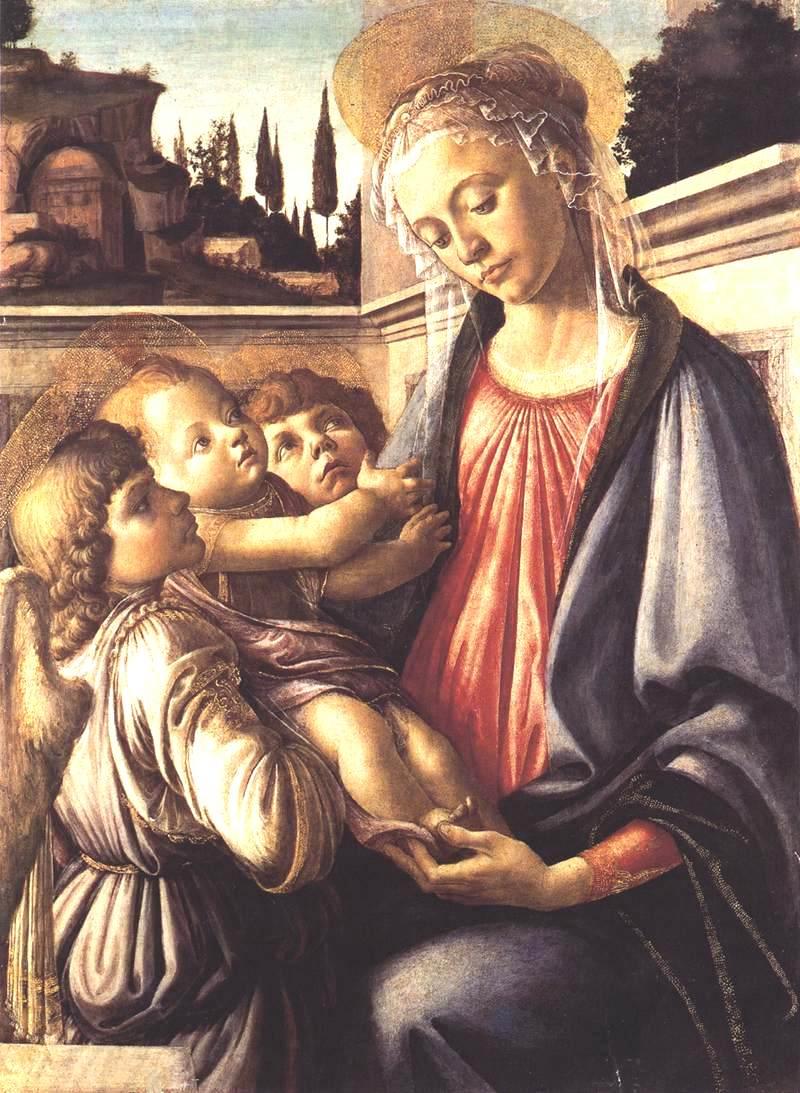 圣母玛利亚、圣婴和两个天使