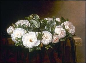 白玫瑰花环_A wreath of white roses-约翰·劳伦兹·詹森
