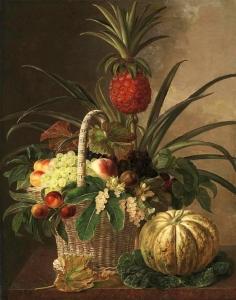 菠萝,葡萄,桃子,坚果,和浆果在一个篮子里,在大理石窗台上_Pineapple, grapes, peaches, nuts, and berries in a basket, on a marble ledge-约翰·劳伦兹·詹森