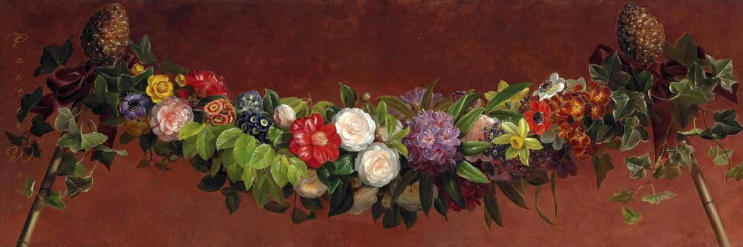 春天和夏天的花环_Garland of spring and summer flowers-约翰·劳伦兹·詹森