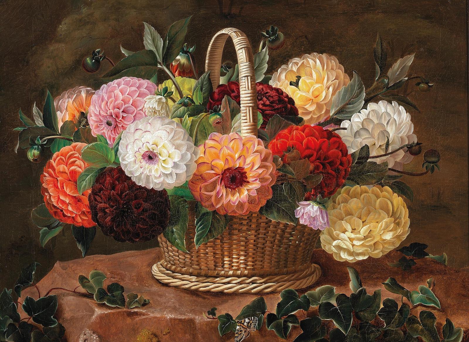 大丽花在篮子里的静物_Still life with dahlias in a basket-约翰·劳伦兹·詹森