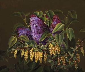 淡紫色和伏牛花_Lilac and barberry-约翰·劳伦兹·詹森