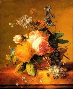 放在大理石窗台上的花篮里_Flowers in a Basket on a Marble Ledge-扬·范·休森