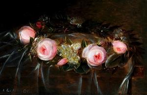 粉红玫瑰和桃金娘的花环_Wreath of pink roses and myrtle-约翰·劳伦兹·詹森