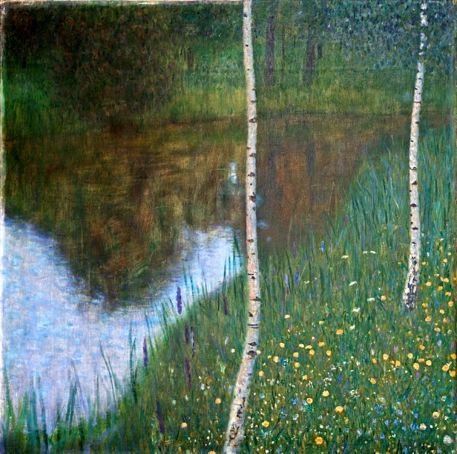 湖边有桦树_Lakeside with Birch Trees-古斯塔夫·克里姆特