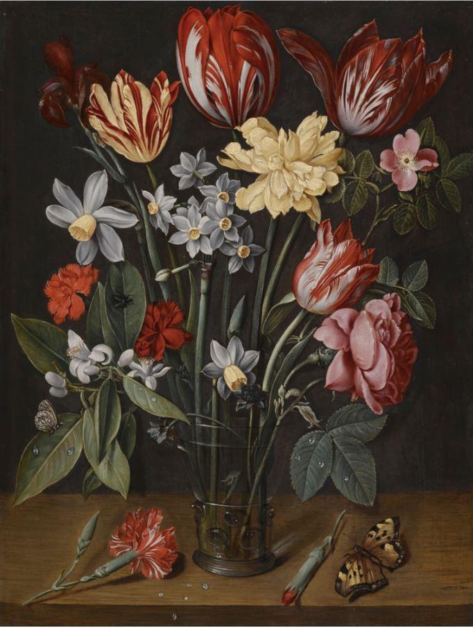 花瓶里有郁金香、水仙花、康乃馨和其他花的静物画_A still life with tulips, daffodils, carnations and other flowers in a vase-雅各布·范·休斯敦克