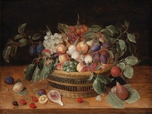 静物画,桃子,李子和葡萄放在窗台上的篮子里_Still Life with Peaches, Plums and Grapes in a Basket on a Ledge-雅各布·范·休斯敦克