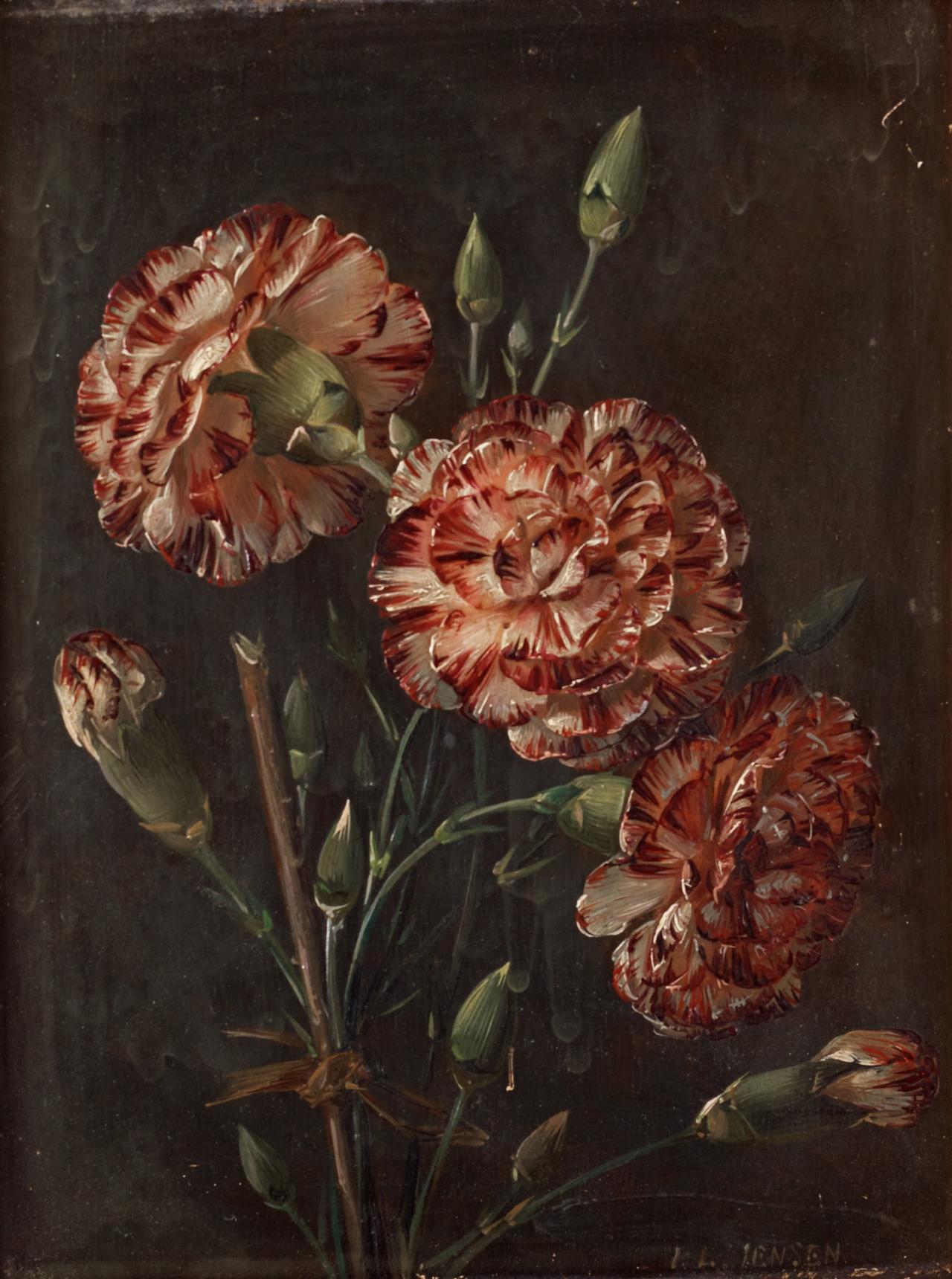 康乃馨静物画_Still life with Carnations-约翰·劳伦兹·詹森