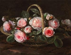 篮子里的粉红色玫瑰_Pink roses in a basket-约翰·劳伦兹·詹森