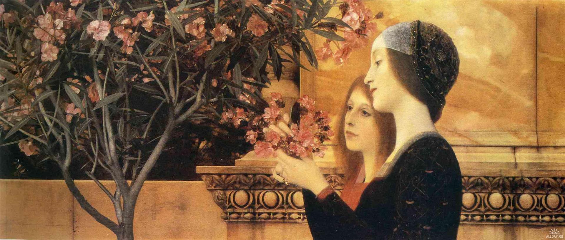 两个拿夹竹桃的女孩_Two Girls With An Oleander-古斯塔夫·克里姆特