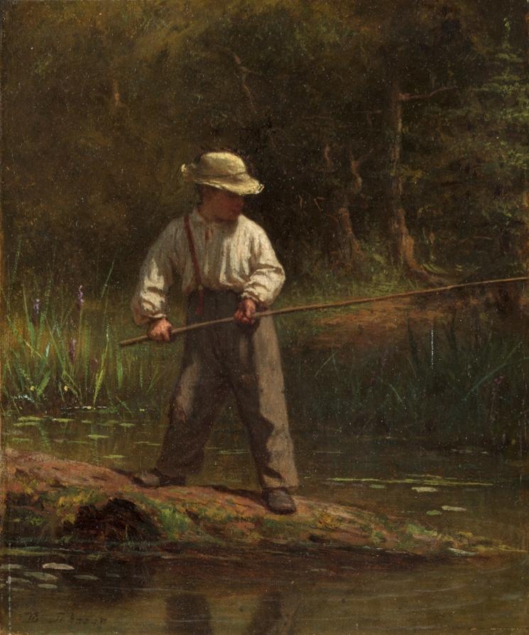 男孩钓鱼_Boy Fishing-伊士曼·约翰逊