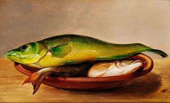 盘子里的五颜六色的鱼(研究)_Colorful fish on a dish (study)-约翰·劳伦兹·詹森