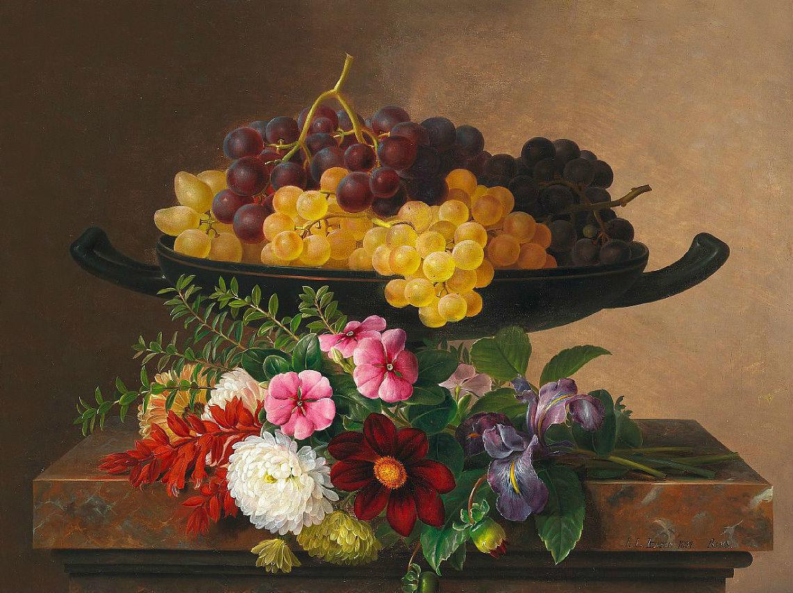 石头窗台上的花和葡萄_Flowers and grapes on a stone sill-约翰·劳伦兹·詹森