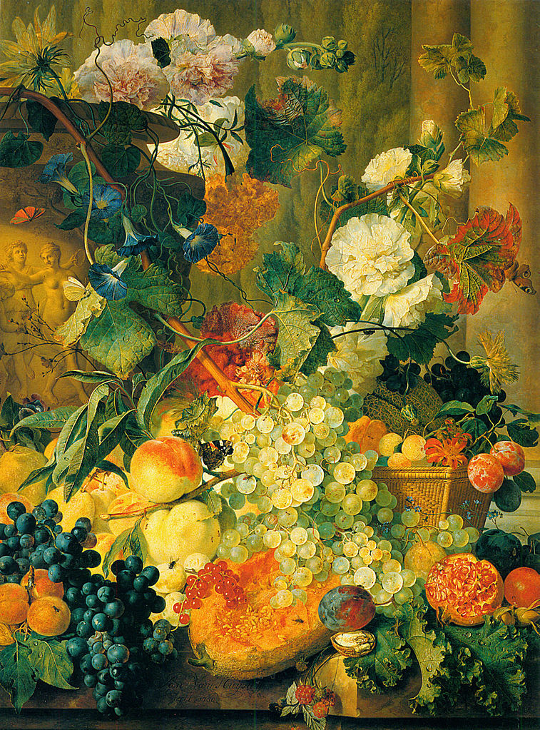 蜀葵、牵牛花、金盏花、鸡冠花、西番莲和勿忘我_Hollyhocks, Morning Glory, Marigolds, Cockscombs, Passion Flowers and Forget-Me-Nots-扬·范·休森