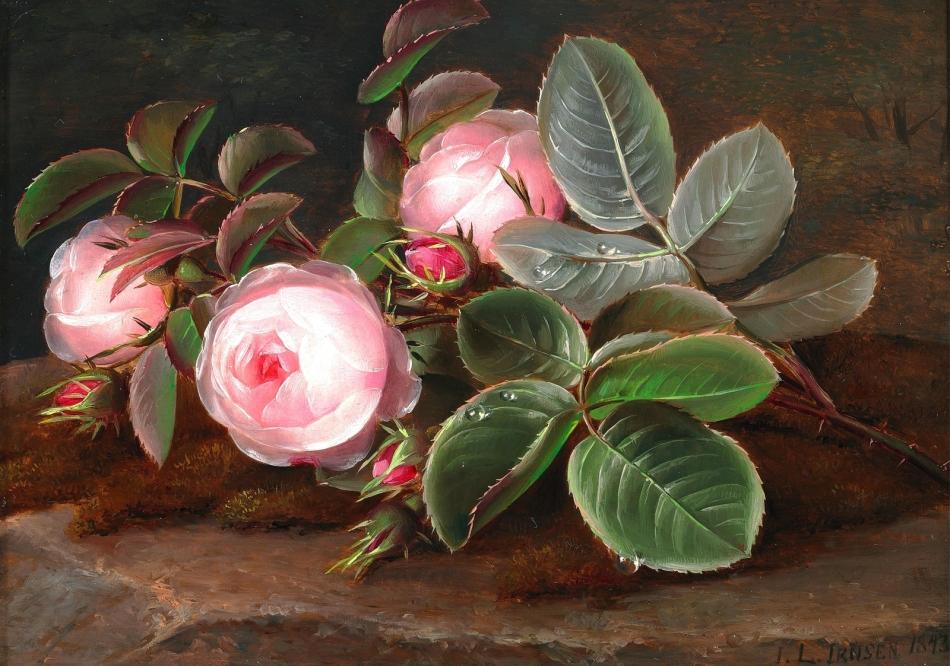 树桩上的粉色玫瑰_Pink roses on a tree stump-约翰·劳伦兹·詹森