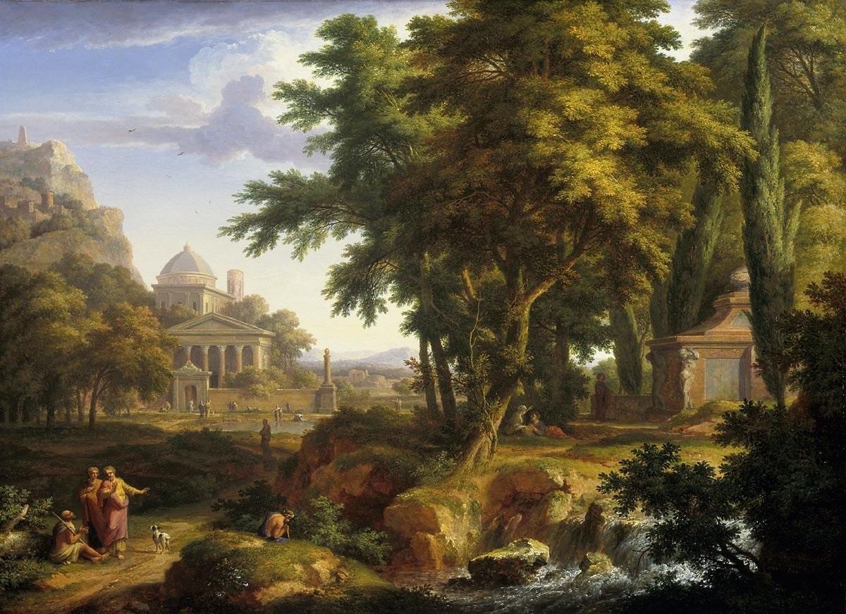 田园牧歌式的风景,圣徒彼得和约翰治愈了跛足的人_Arcadian landscape with the healing of the crippled man by Saints Peter and John-扬·范·休森
