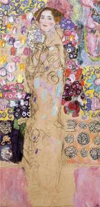 """一个女人的肖像(未完成)(也被称为""""Maria Munk肖像"""")_Portrait of a Woman (unfinished)(also known as 'Portrait of Maria Munk')-古斯塔夫·克里姆特"""