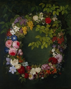 一个由玫瑰、金银花、牵牛花、水仙花和其他花组成的花环_A garland of roses, honeysuckle, morning glory, narcissus and other flowers-约翰·劳伦兹·詹森