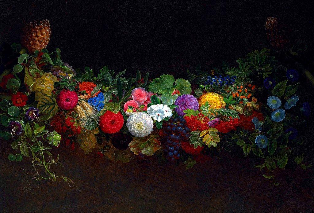 一个由水果和鲜花组成的华丽花环_A magnificent garland of fruit and flowers-约翰·劳伦兹·詹森