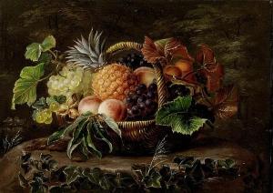 一篮子菠萝、葡萄、桃子和榛子_Basket of pineapples, grapes, peaches and hazelnuts-约翰·劳伦兹·詹森