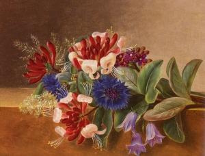 有金银花、蓝色矢车菊和矢车菊的静物画_A Still Life with Honeysuckle, Blue Cornflowers and Bluebell-约翰·劳伦兹·詹森