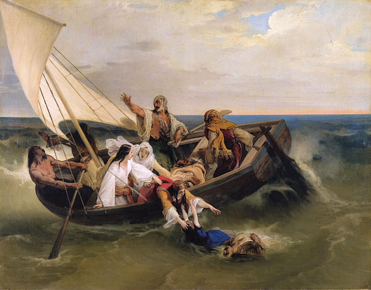 与希腊逃亡者同船(希腊历史上的一集,莫斯科尼著)_Boat with Greek Fugitives (an episode from Greek history by Mosconi)-弗朗切斯科·保罗·海耶兹