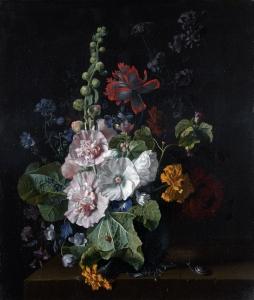 在花瓶里放一些蜀葵和其他的花_Hollyhocks and Other Flowers in a Vase-扬·范·休森