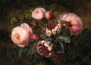种植粉红玫瑰和金银花_Growing pink roses and honeysuckles-约翰·劳伦兹·詹森
