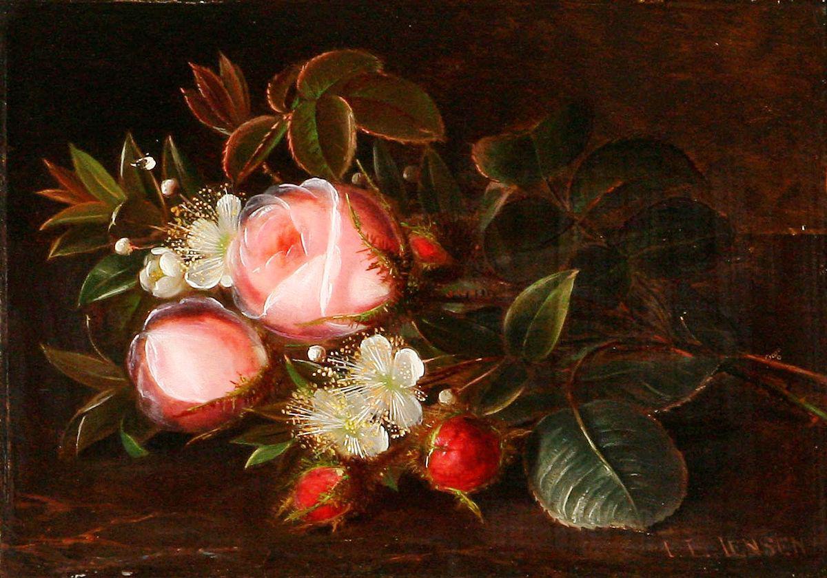 桌上摆着一束粉红色的玫瑰和山楂_A bouquet of pink roses and hawthorn on a table-约翰·劳伦兹·詹森
