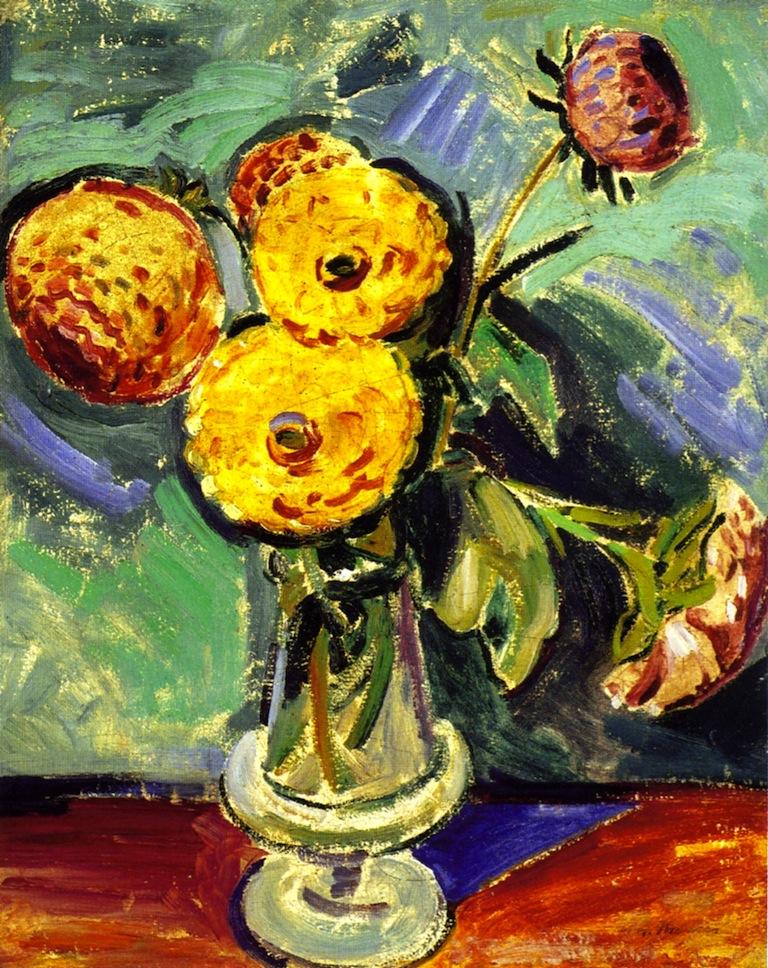 玻璃花瓶_Flowers in Glass Vase-阿尔弗雷德·亨利·毛雷尔