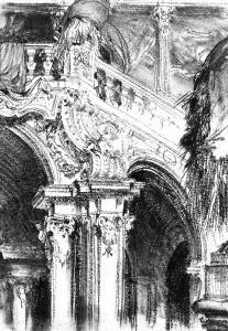 波默斯菲尔登城堡的大楼梯_The Great Staircase at the Chateau of Pommersfelden-阿道夫·门采尔