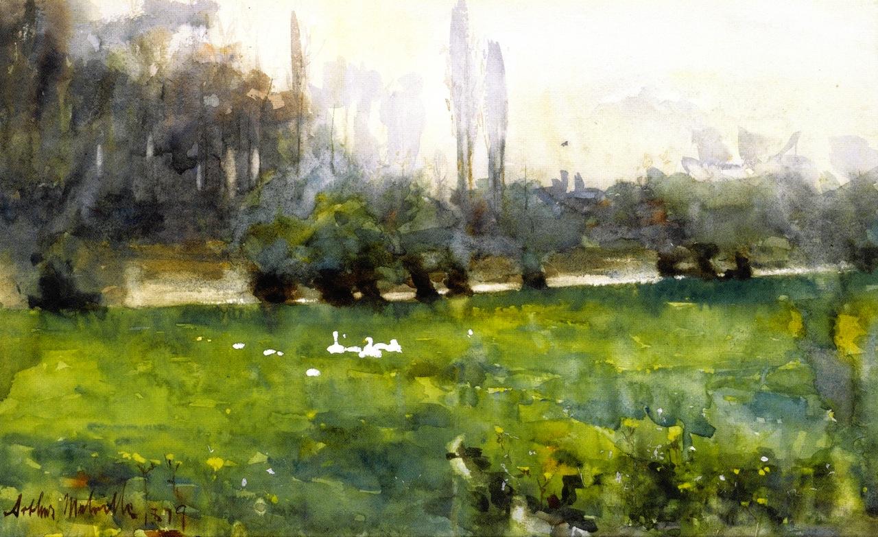 草地上的天鹅_Swans in a Meadow-阿瑟·梅尔维尔