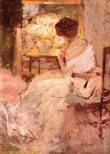 穿白色晚礼服的女士_Lady in a White Evening Gown-理查德·爱德华·米勒