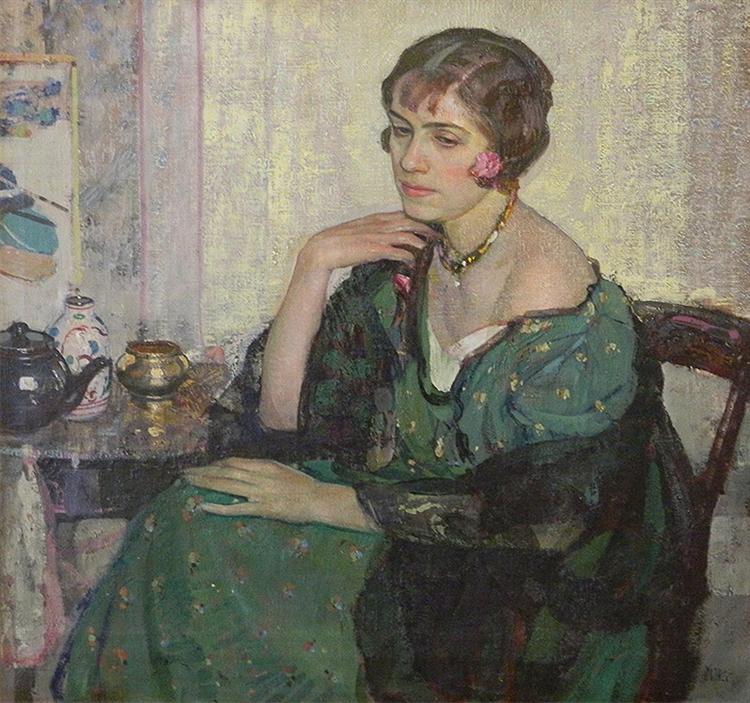 穿绿衣服的女人_Woman in Green Dress-理查德·爱德华·米勒