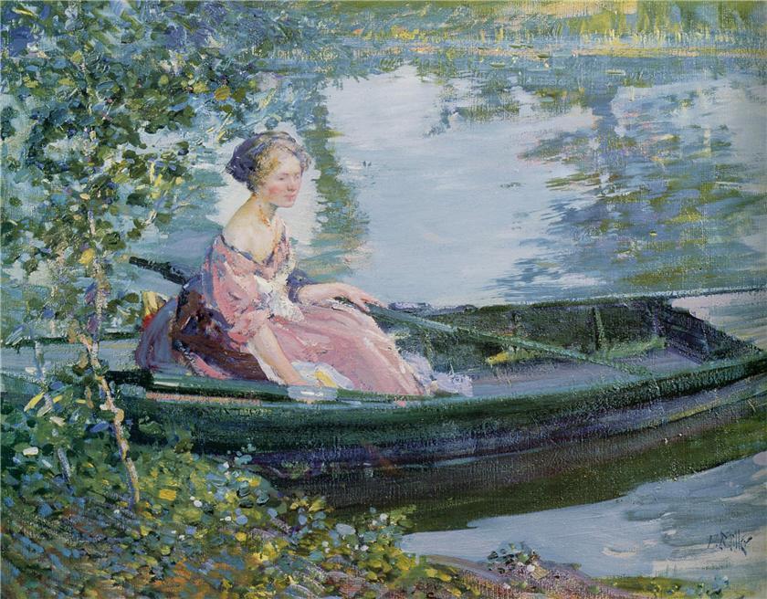 船上的女人_Woman in a Boat-理查德·爱德华·米勒