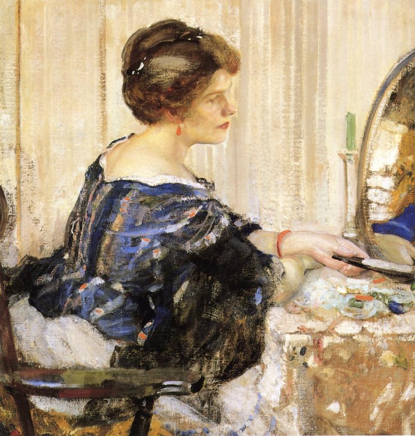 穿着蓝色衣服的女人坐在梳妆台前_Woman in Blue Seated at a Dressing Table-理查德·爱德华·米勒