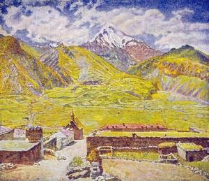 格鲁吉亚。卡兹别克山和村庄_Georgia. The Kazbek Mountain and Village-伊利亚·马什科夫