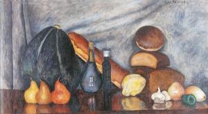静物画,面包和南瓜_Still-life with Bread and Pumpkin-伊利亚·马什科夫