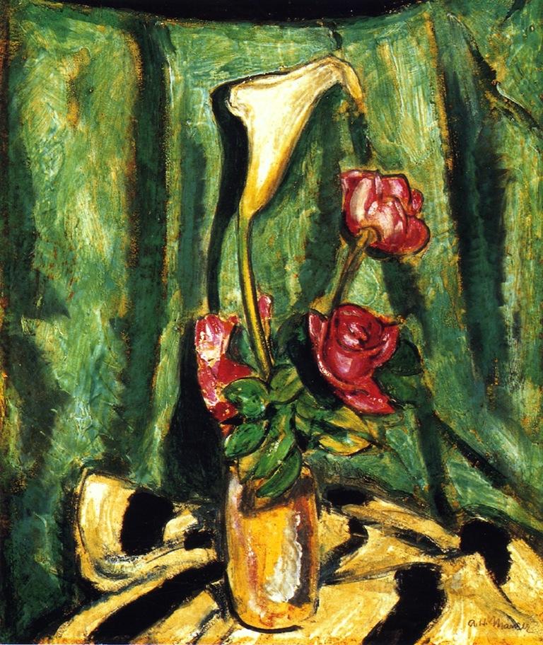 马蹄莲、百合和玫瑰的静物画_Still Life with Calla Lily and Roses-阿尔弗雷德·亨利·毛雷尔