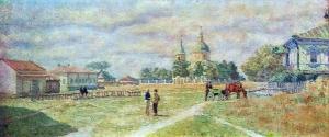 米哈伊洛夫斯卡娅村的广场_Square in the village of Mikhailovskaya-伊利亚·马什科夫